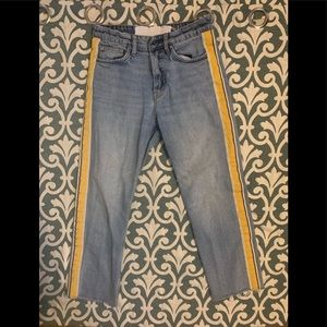 Zara Cropped Jeans with Yellow Stripe Along Side